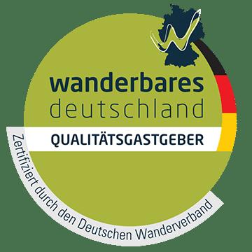 Logo Qualitätsgastgeber Wanderbares Deutschland   Oberhof Hotel Urlaub im Thüringenschanze